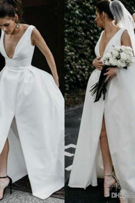 Sexy V-neck Satin Wedding Dresses 2019 Women Pageant Wedding Gowns With High Split Women Vestidos De Novia Custom Made
