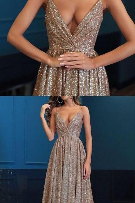 Spaghetti Strap V-Neck Sequin A Line Prom Dress,Sexy Women Party Gowns ,Formal Evening Dress Plus Size ,Long Party Dress