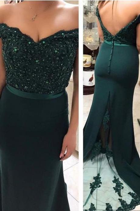 New Arrival Drak Green Lace Mermaid Prom Dress, Sexy Long Bridesmaid Party Gowns , 2019 Sexy Backless Women Prom Party Gowns
