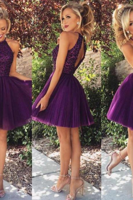 Shiny Beaded Purple Tulle Short Prom Dress, Mini Prom Party Gowns ,Short Cocktail Dress, Girls Party Gowns Short .
