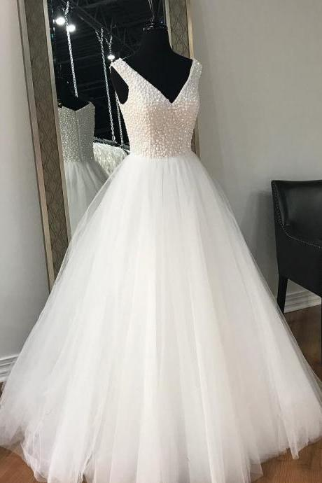 White Beaded Tulle Long Prom Dress, Sexy V-Neck Prom Party Gowns ,Plus Size Women Party Gowns ,Long pageant Dress For Women 2019