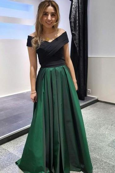 A Line Top Black Ruffle Long Prom Dress 2019 Plus Size Green Skirts Women Party Gowns Custom Made Evening Party Dresses 2019