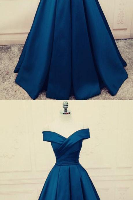 Fashion Ruched Navy Blue Satin Prom Dress A Line Women Prom Gowns ,Long Evening Dress, Custom Made Evening Party Gowns