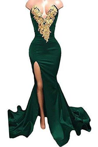 Charming Dark Green Mermaid Prom Dress With Gold Lace Prom Gowns ,Long Evening Dress, Sweet 16 Prom Gowns ,Mermaid Evening Dress