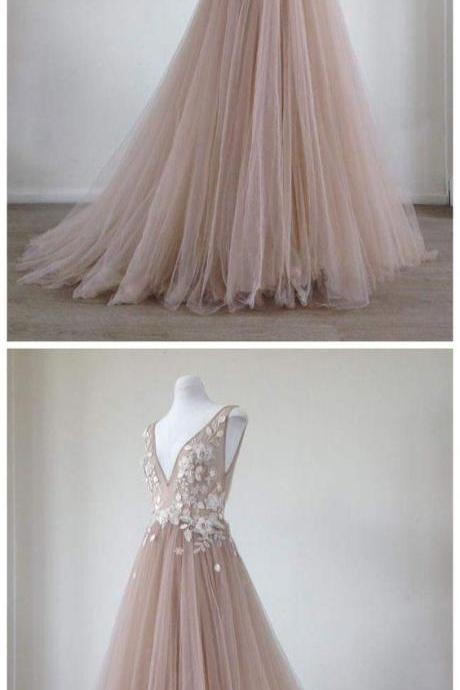 Sexy V-Neck Tulle Prom Dress Custom Made Women Party Gowns ,Cheap Lace Prom Gowns ,Formal Evening Dress