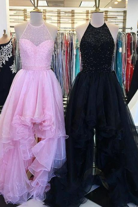Luxury Pink Organza High Low Prom Dress With Beaded Crystal Halter Neck Long Prom Gowns Plus Size Women Party Gowns ,Custom Made A Line Women Pageant Gowns,High Low Homecoming Party Dress