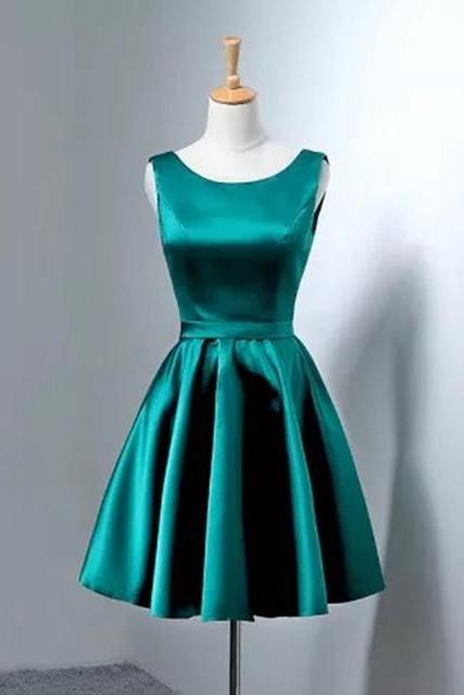 Green Satin Short Homecoming Dress,Sexy Back Open Mini Cocktail Party Gowns ,Short Women Party Gowns Mini,Short Bridesmaid Dress