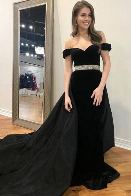 off shoulder black satin long prom dress custom made cheap prom gowns , Fashion Formal Evening Dress, A Line Formal Evening Gowns