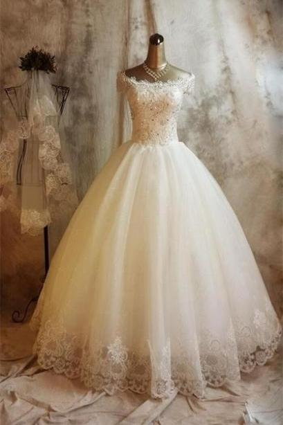 New Arrival Boat Neck Lace Beaded China Wedding Dress , Sexy Ball Gown Wedding Dresses, Custom Made Pricess Bridal Gowns