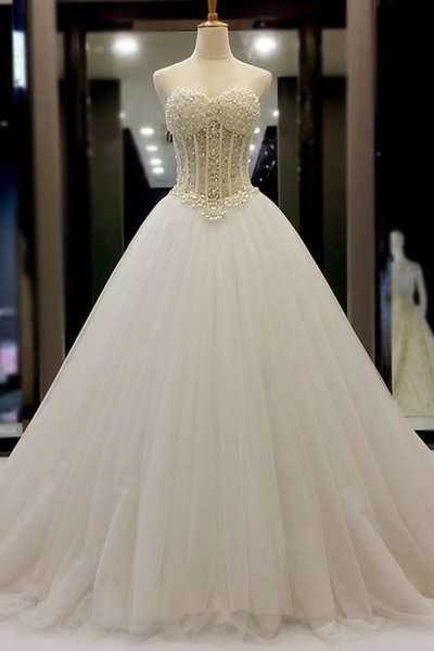 New Arrival White Beaded Lace Corset Ball Gown Wedding Dresses Custom Made Pricess Cheap Women Bridal Party Gowns