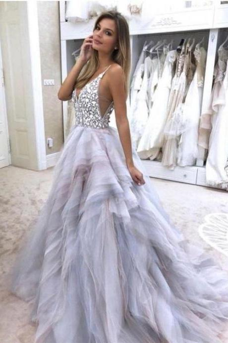 Luxury Deep V-Neck Ruffle Long Prom Dress With Skirts Tiers Formal Evening Dress Plus Size Long Party Gowns With Crystal .