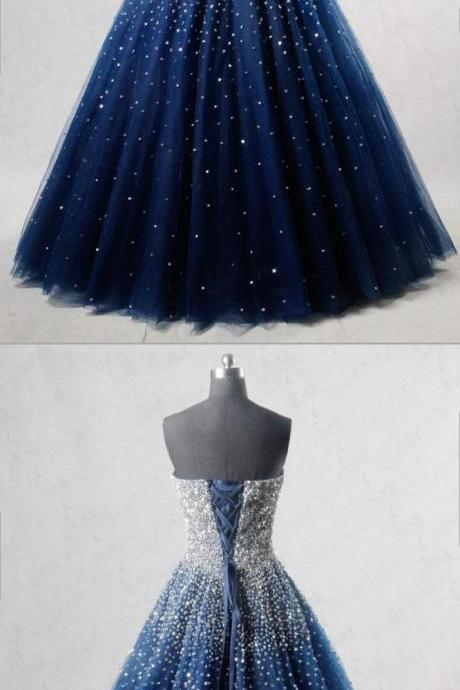 Luxury Beaded Crystal Sequin Sweet Long Prom Dress A Line Women Prom Party Gowns Floor Length Formal Evening Party Dress ,2019 Blue Beaded Quinceanera Dress