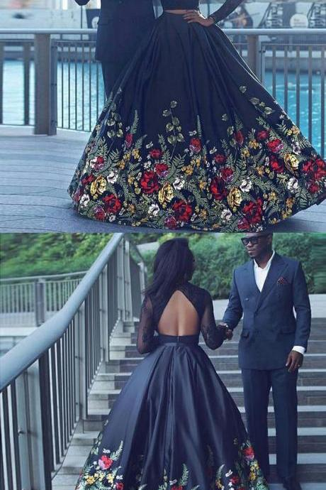 Elegant Two Pieces Long Prom Dress, Sexy Women Prom Gowns ,Custom Made Evening Dress With Long Sleeve ,Floral Printed Prom Dress Long 2019