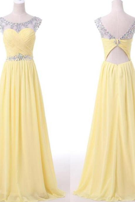 Sexy Scoop Neck Yellow Beaded Long Prom Dress, A Line Yellow Prom Gowns ,Cheap Evening Dress, Plus Size Evening Gowns .