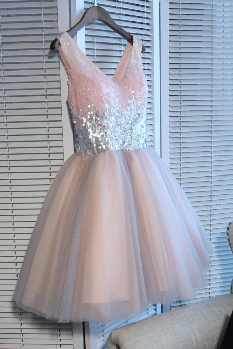 Shiny Sequin V-Neck Short Homecoming Dress A Line Short Cocktail Party Dresses,Custom Made Tulle Short Prom Dress, Junior Party Dress