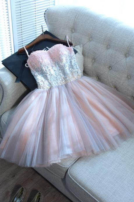 Sweet16 Prom Dress, Shiny Sequin Short Homecoming Party Dress Custom Made Mini Prom Gowns ,Short Bridesmaid Dress