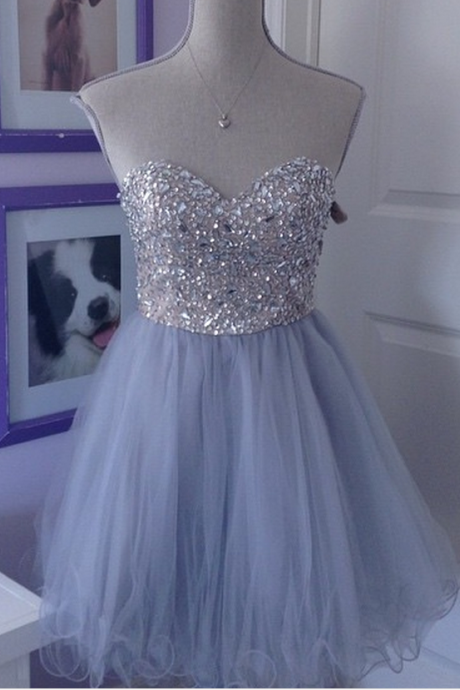Shiny Tulle Short Homecoming Dress, A Line Short Cocktail Party Dress, Sweet 16 Prom Gowns ,Custom Made Short Graduation Gowns