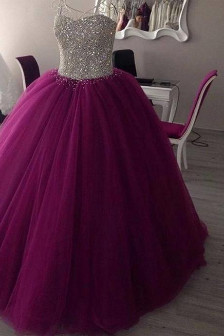 Sparkly Sweetheart Beaded Ball Gown Prom Dresses Real Picture Tulle Floor Length Sleeveless Puffy Quinceanera Dresses,Sweet 16 Prom Dress,Puple Tulle Quinceanera Dress 2019