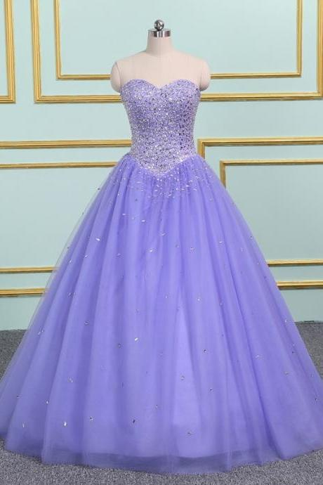 Luxury Beaded Sweet Tulle Ball Gown Long Prom Dress Custom Made Long Quinceanera Dress , Formal Evening Dress