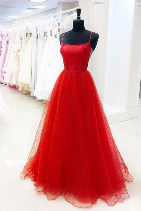 Fashion Red Tulle Long Evening Party Dress Custom Made Women Prom Gowns ,A Line Tulle Prom Gowns