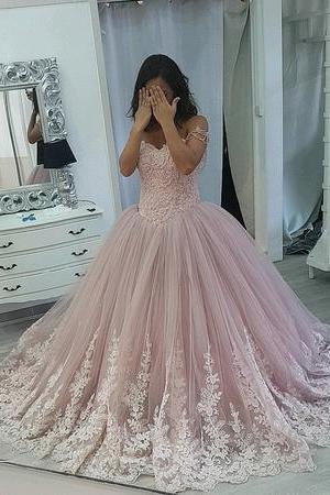 Sexy Ball Gown Prom Party Dress 2019,Cheap Pricess Lace Quinceanera Dress, Custom Made Prom Dresses, Formal Evening Dresses