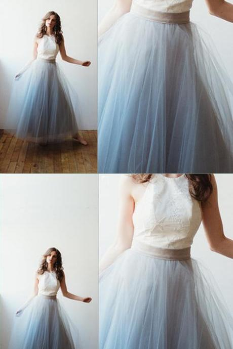 Cheap A Line Halter Tulle Long Prom Dress Custom Made Women Prom Gowns,Custom Made Long Prom Party Gowns