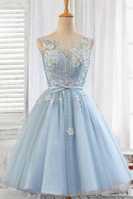 Cute Light Blue Beaded Short Homecoming Dress Scoop Neck Mini Cocktail Party Gowns ,Above Length Graduation Party Gowns 2019