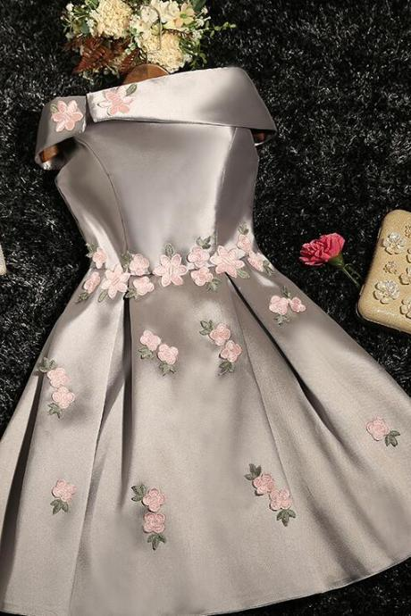 Off Shoulder Light Gray Satin Short Homecoming Dress With Lace ,Short Prom Dress, Short Cocktail Gowns ,Mini Party Dress