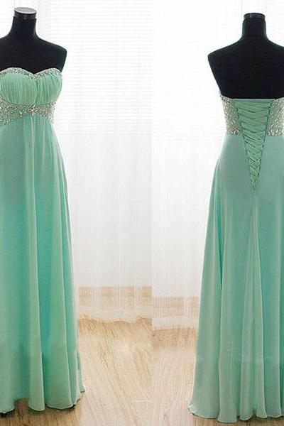 Mint Green Beaded Chiffon Ruffle Bridesmaid Dress Custom Made Long Party Gowns ,Plus Size Women Dress.Cheap Bridesmaid Gowns