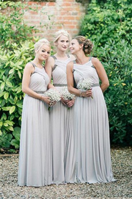 New Arrival Silver Chiffon Beaded Long Bridesmaid Dress Spaghetti Strap Bridesmaid Gowns Custom Made Maid Of Honor Gowns