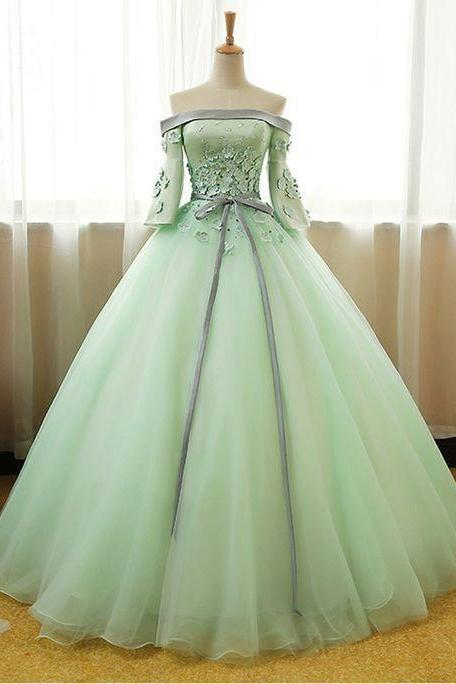 Mint Green Organza Long Prom Dress Off Shoulder With Sleeve Fashion Women Party Gowns ,Sexy Pricess Quinceanera Dress