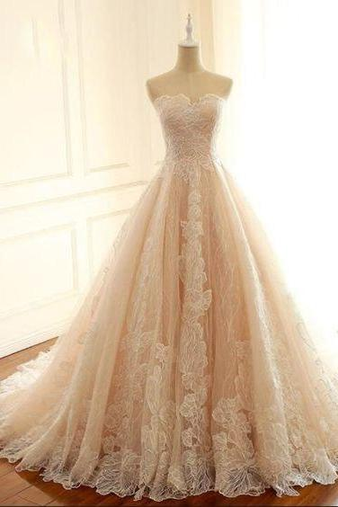 New Arrival Champagne Lace Prom Dress Sweet 16 Prom Gowns ,Sexy A Line Evening Dress, Fashion Women Party Gowns .