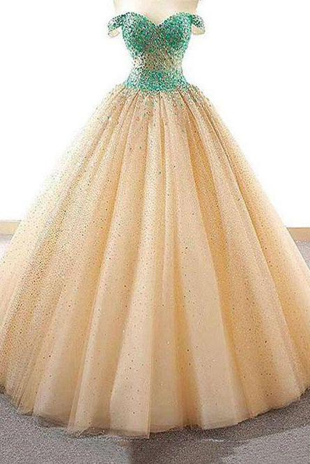 Luxury Beaded Tulle Ball Gown Long Prom Dress, Sweet 16 Prom Gowns ,Sexy Puffy Tulle Women Quinceanera Gowns ,Long Party Dresses