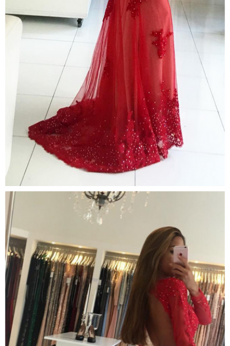 Chraming Red Beaded Tulle Mermaid Prom Dress With Long Sleeve Plus Size Women Prom Gowns ,Red Formal Evening Dress, Sexy Mermaid Prom Gowns