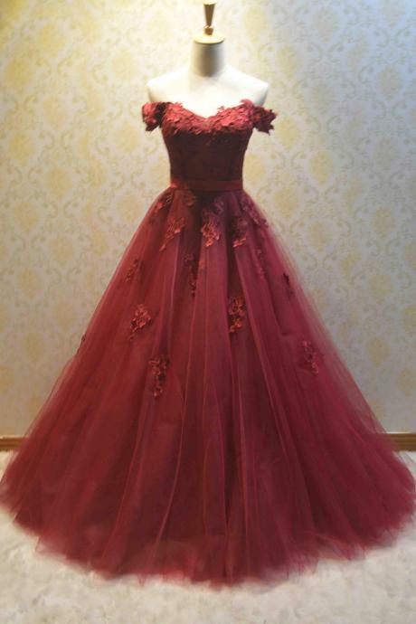 Elegant A Line Burgundy Tulle Prom Dress Sweetheart Formal Prom Gowns Plus Size Women Evening Dresses.