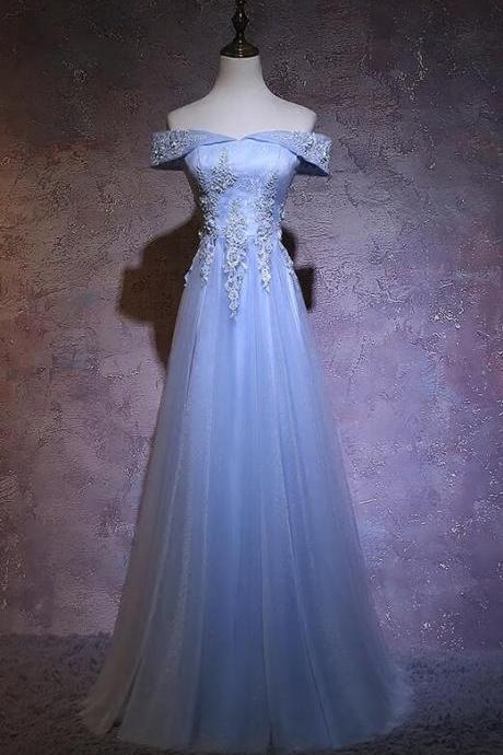 Sexy A Line Light Blue Tulle Lace Prom Dresses Custom Made Long Prom Party Gowns Custom Made Formal Evening Dress, Cheap Evening Gowns