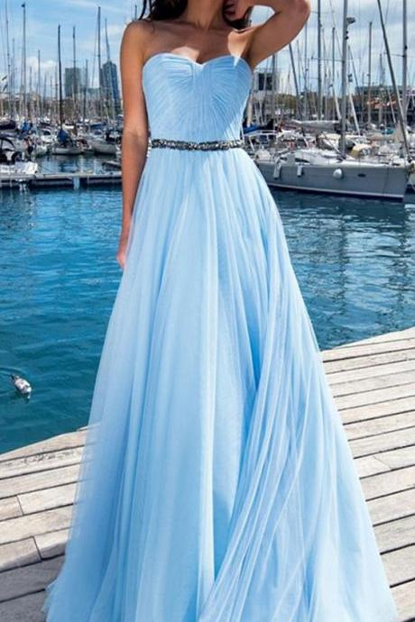 Off Shoulder Sky Blue Chiffon Ruffle Long Prom Dress Sweet 16 Prom Gowns Custom Made Long Evening Party Gowns ,A Line Party Gowns