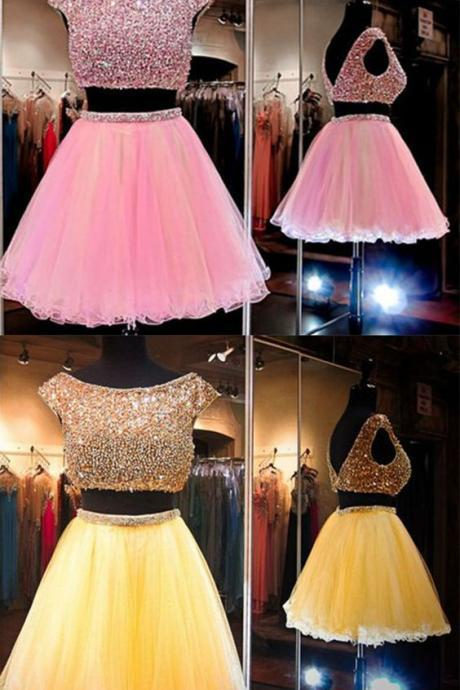Luxury Beaded Corset Two Pieces Pink Tulle Short Homecoming Dress, Sexy Custom Made Prom Dress ,2 Pieces Party Gowns For Women