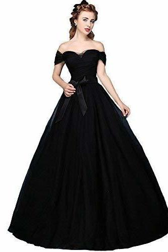 Elegant Black Tulle Ruched Long Prom Dress ,Sweet 16 Prom Gowns , Formal Evening Dress For Wedding , Cheap Prom Party Gowns