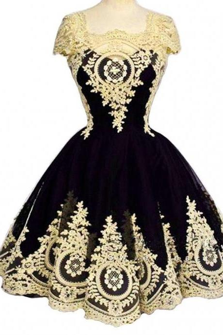 New Arrival Black Short Homecoming Dress With Gold Lace Appliqued Prom Gowns Mini , Sexy Women Party Gowns ,