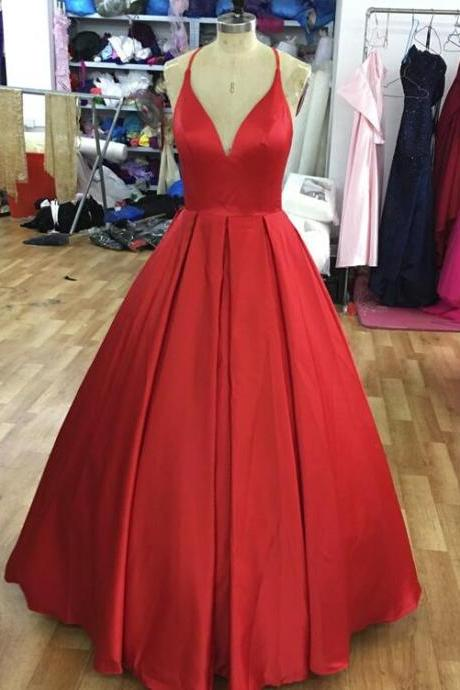 Vintage A Line Red Satin Cheap Prom Dress Custom Made Backless Women Party Gowns ,Plus Size Long Prom Gowns