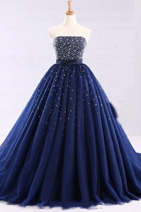 Luxury Beaded Ball Gown Quinceanera Dress Sweet 15 Quinceanera Gowns ,Sexy Pricess Women Party Gowns , Long Prom Gowns For Women