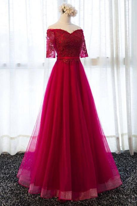 Sexy A Line Long Prom Dress Burgundy Tulle Lace Prom Gowns With Short Sleeve , Custom Made Women Party Gowns , Cheap Prom Dress