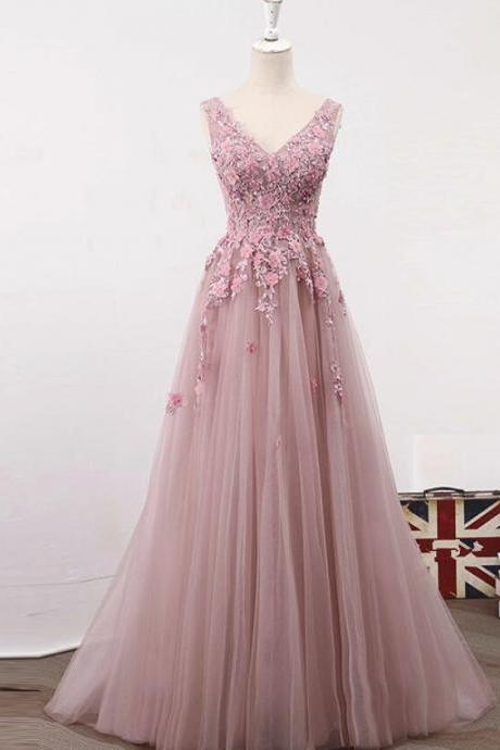 Plus Size Pink Lace Long Prom Dress 2019 Cheap V-Neck Formal Evening Dress, Sexy Women Dress.Wedding Guest Gowns