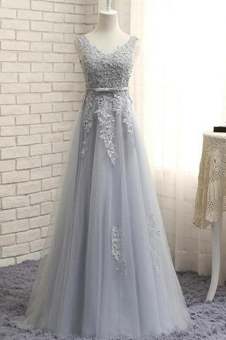 Cheap A Line Light Gray Lace Prom Dress Floor Length Women Party Gowns , Plus Size Evening Dress.,Women Pageant Gowns