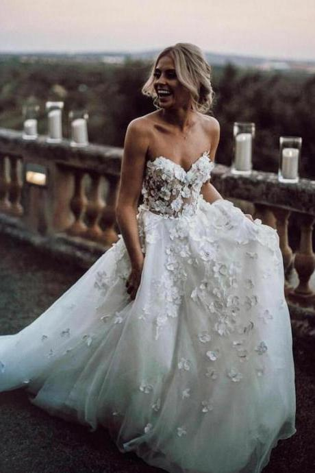 Vintage White Floral Lace Wedding Dress A Line Cheap Wedding Gowns, Women Party Gowns For Bridal