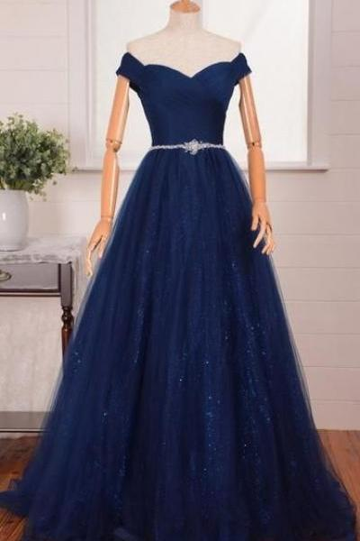New Arrival Royal Blue Tulle Long Prom Dress A Line Women Party Gowns ,Cheap Evening Dress, Long Pageant Gowns