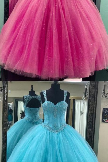 Shiny Beaded Ball Gown Fuchsia Organza Quinceanera Dress For 15 Quinceanera Party Gowns ,Plus Size Prom Gowns
