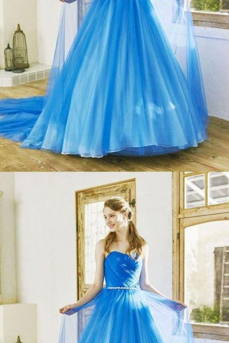 Off Shoulder Blue Chiffon Ruched Long Prom Dress Custom Made Women Party Gowns ,Formal Evening Dress