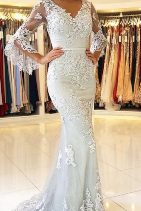 Fashion Mermaid Arabic Long Prom Dress With Lace Appliqued Custom Made Formal Evening Dress .